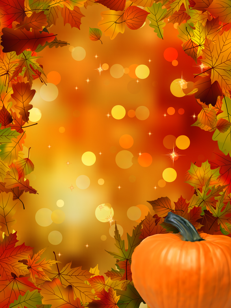 Pumpkin Maple Leaf Background Vector