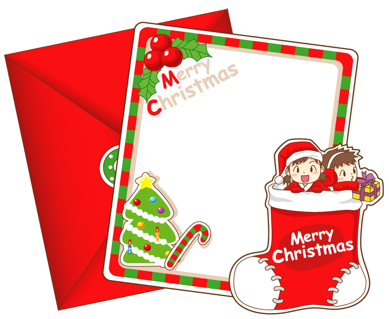 Red Christmas Card Envelope Vector