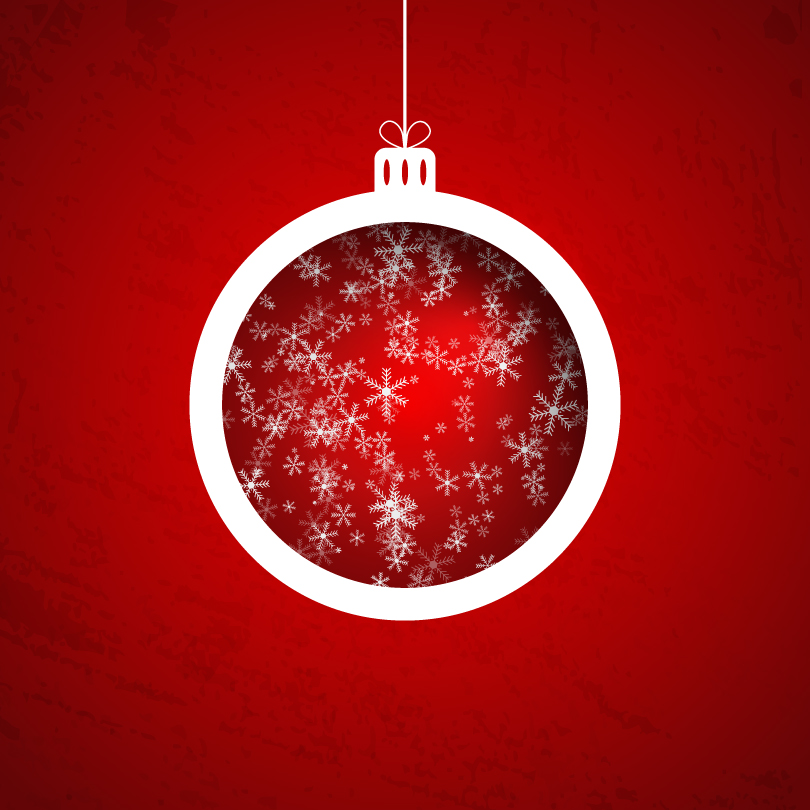 Snowflake Background Xmas Ball Vector