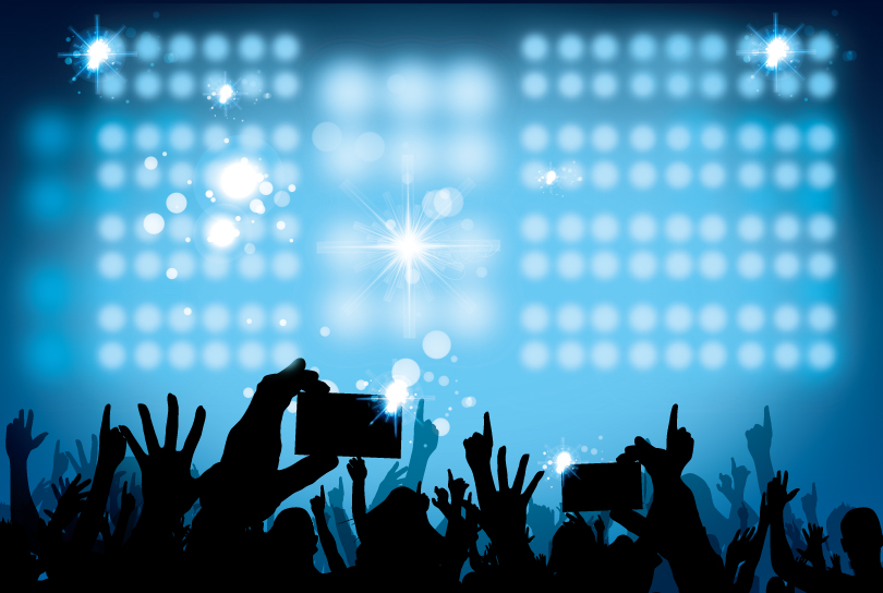 Stage Lighting and Cheering Crowd Silhouette Vector