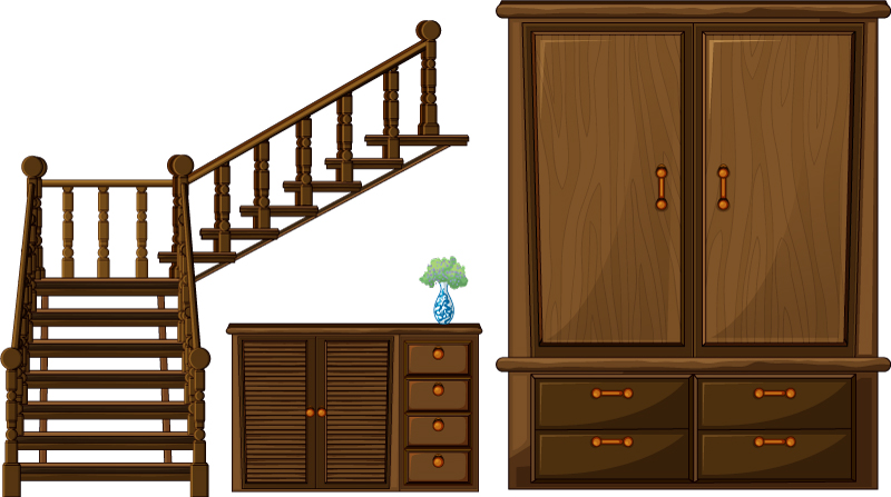 Stairs and Cabinets Vector