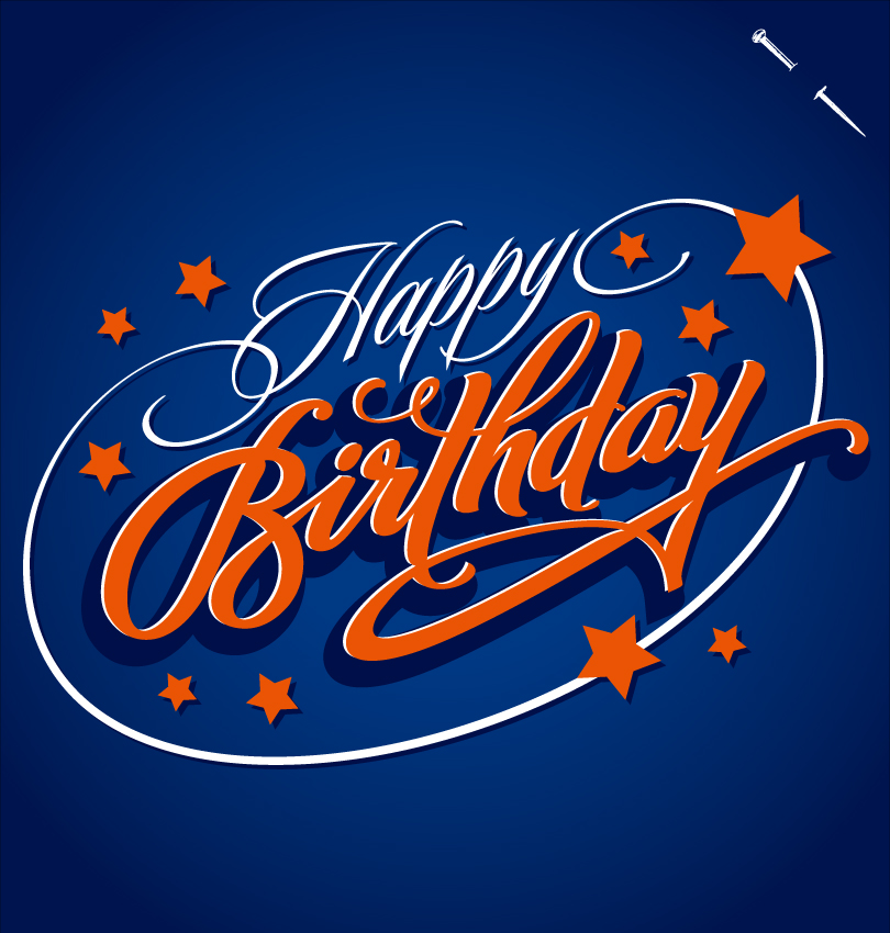 Star Happy Birthday Fonts Design Vector