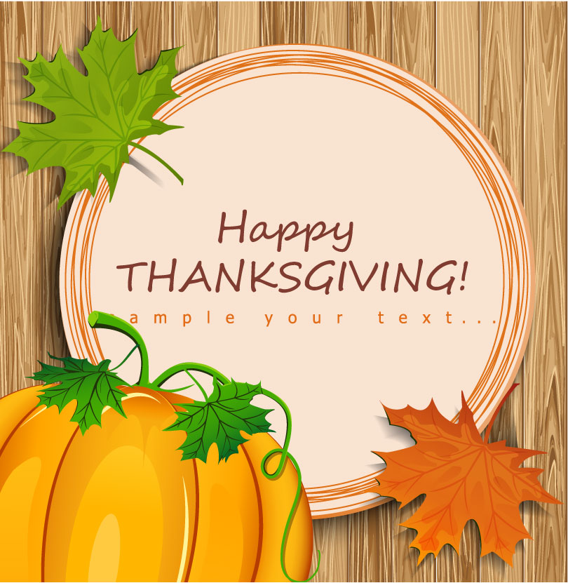 Thanksgiving Pumpkin Text Background Vector