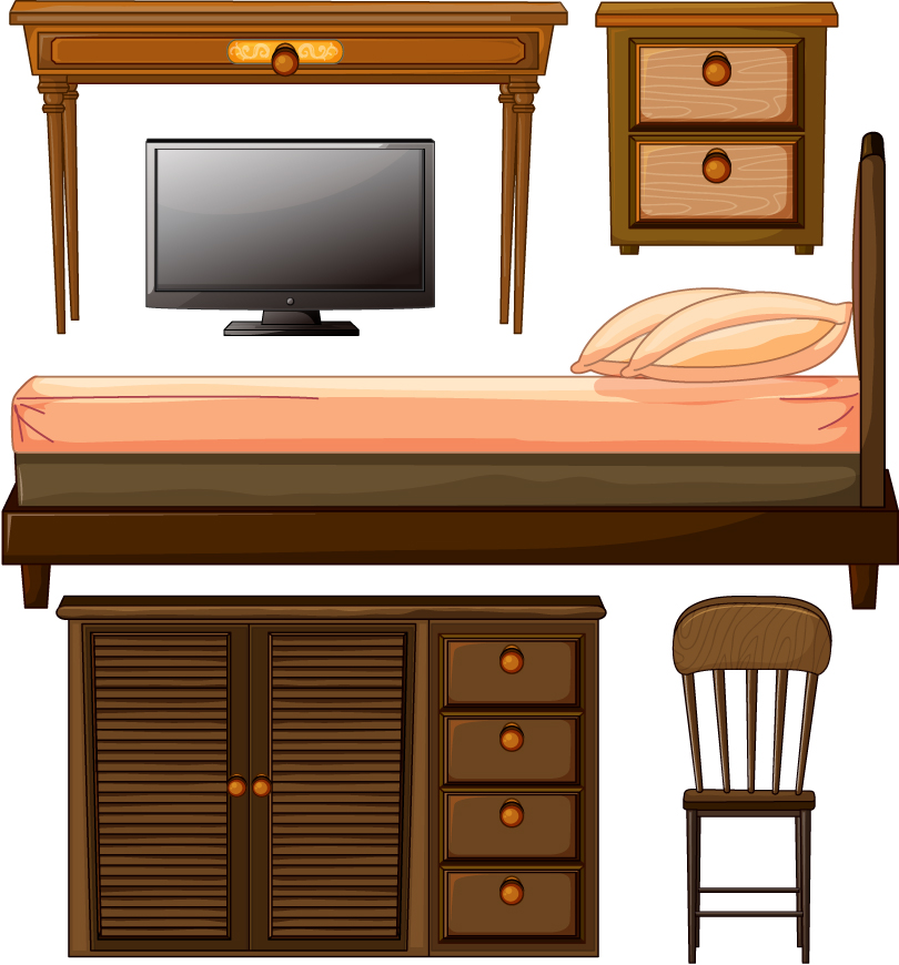 Wooden Furniture Appliances Vector