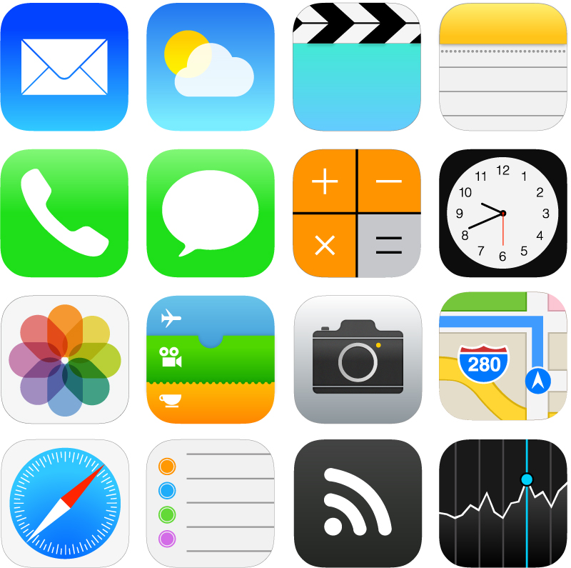 iOS 7 Style Icons Vector