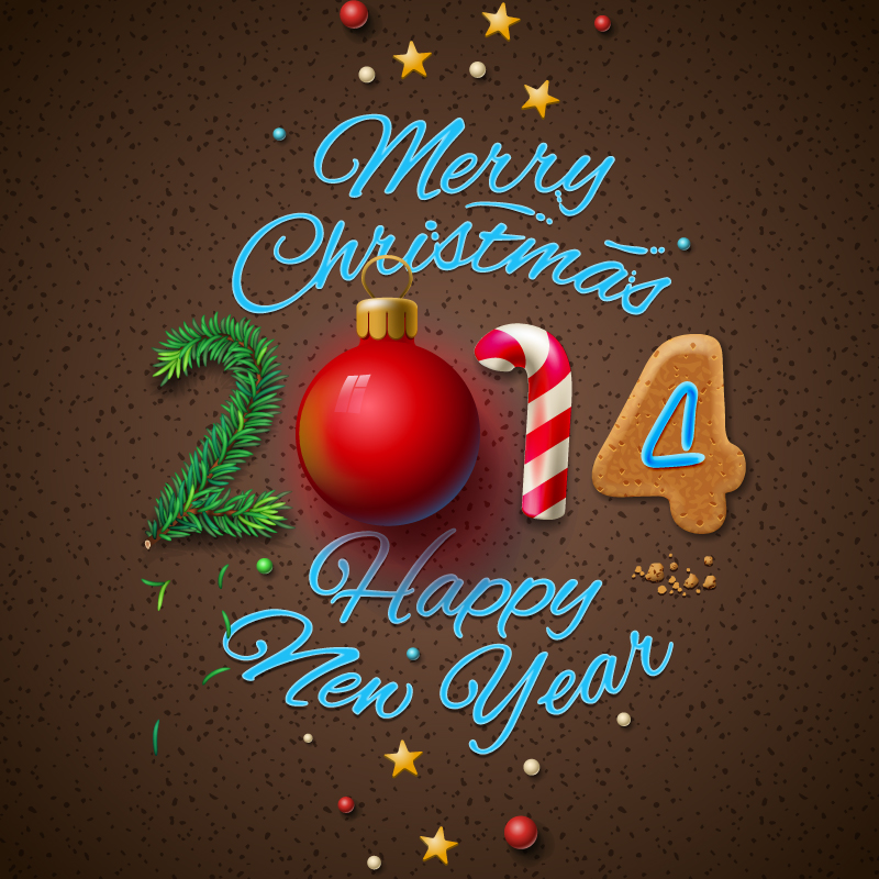 2014 Dimensional Christmas Poster Vector