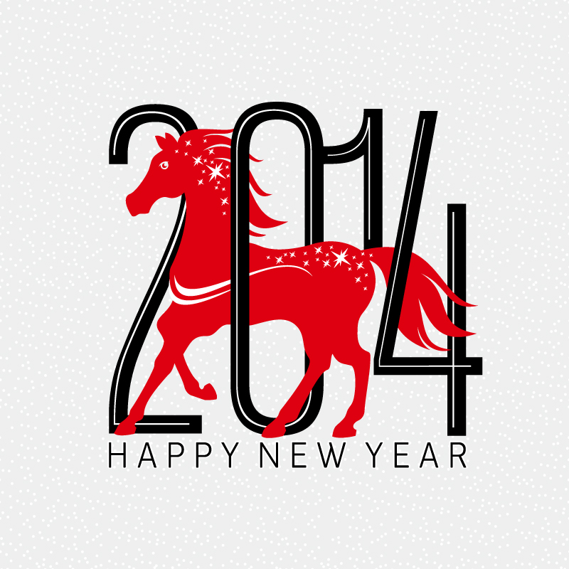 2014 New Year Poster Red Horse Vector