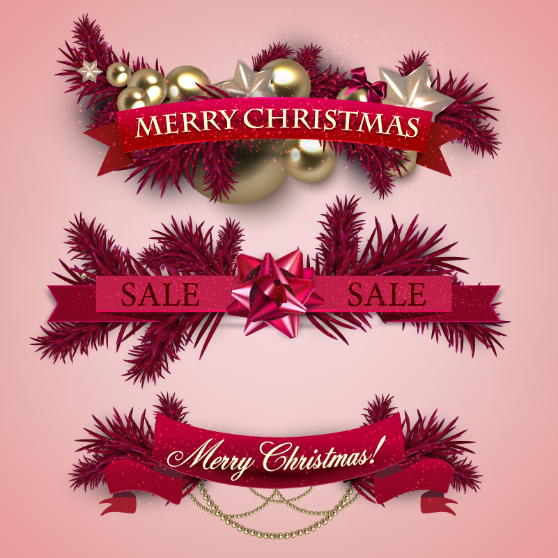 Beautifully Christmas Banner Design Vector