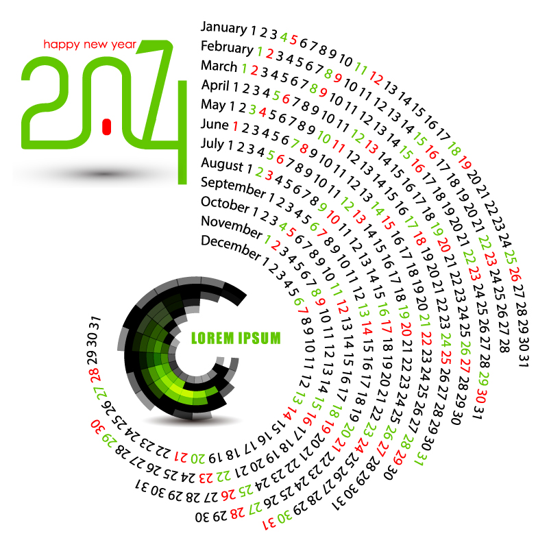 Calendar 2014 Arc-shaped Design Vector