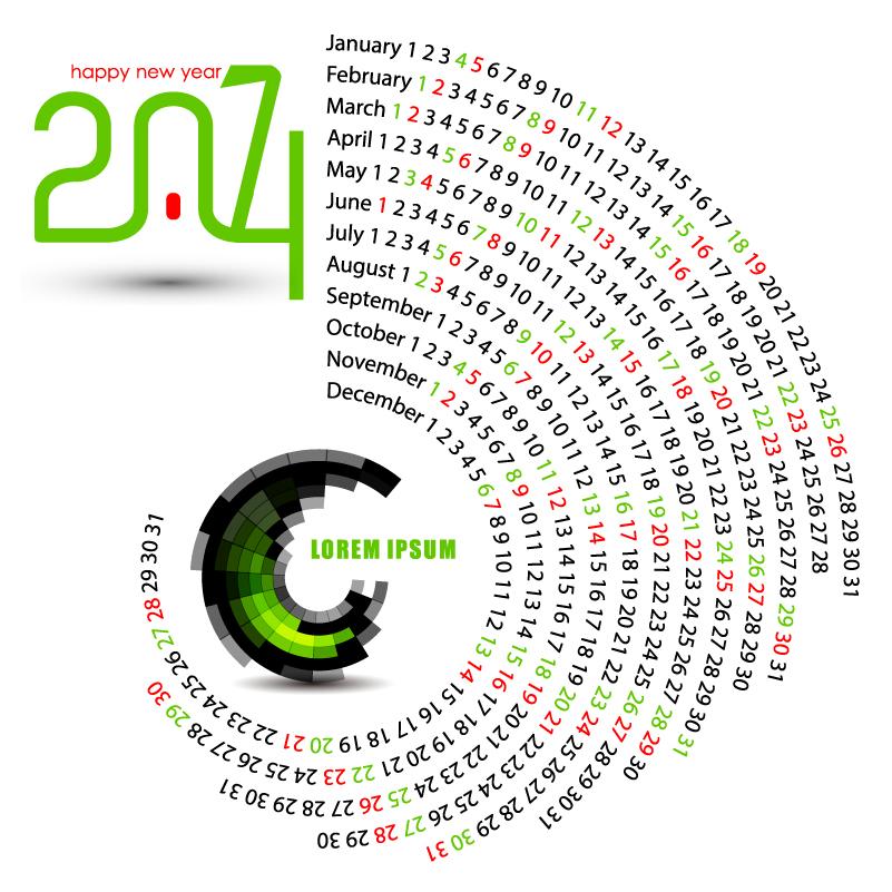 Calendar Typography Vector : Calendar arc shaped design vector free