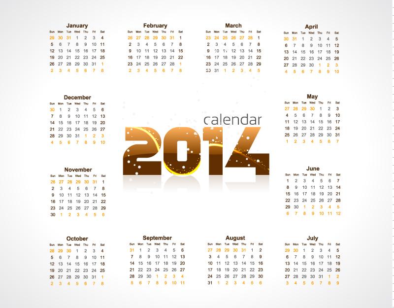 Calendar 2014 Brown Style Vector