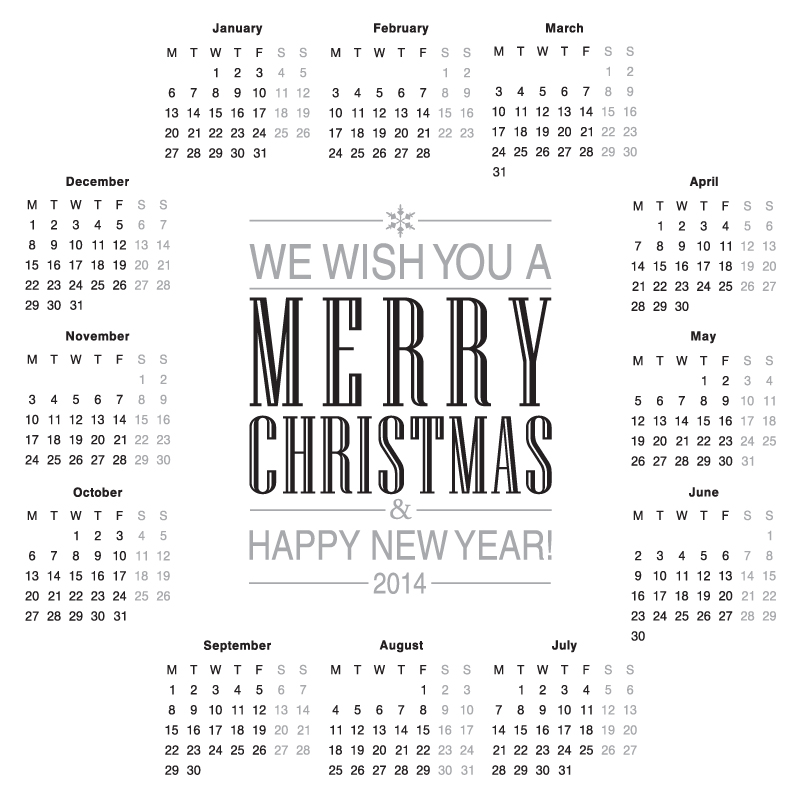 Calendar 2014 Christmas and New Year Vector