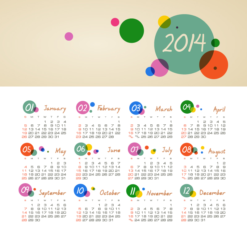 Calendar 2014 Color Bubble Vector Free Download
