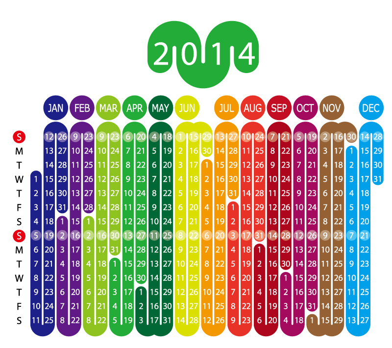 Calendar 2014 Color Curved Vector