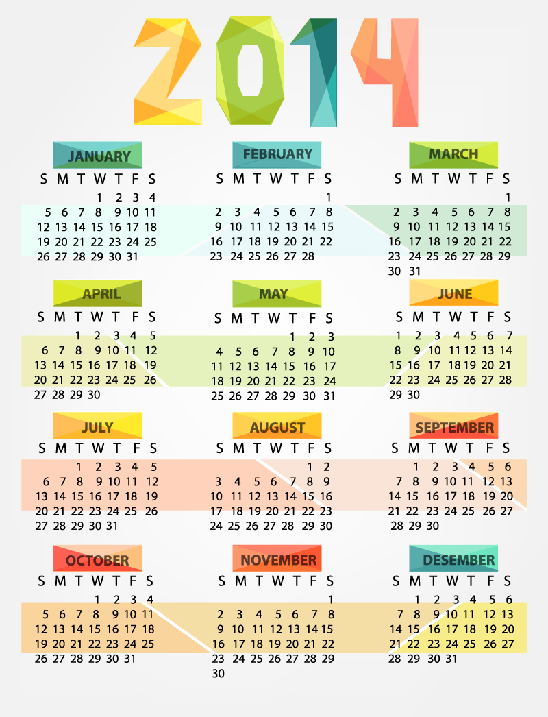 Calendar 2014 Colorful Origami Vector
