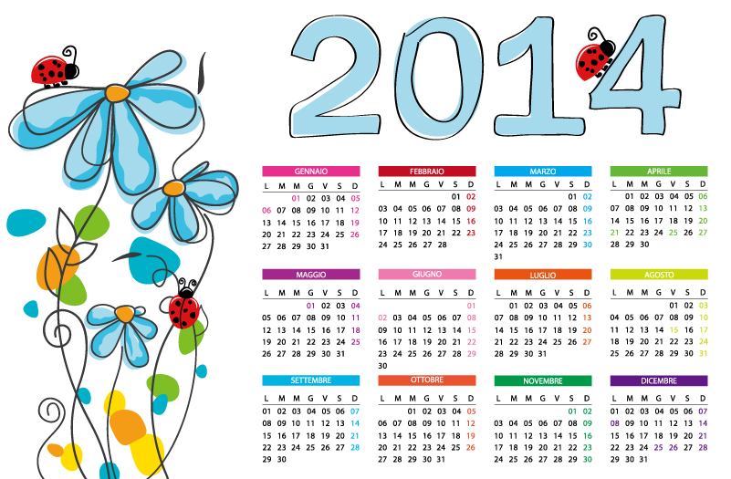 Calendar 2014 Fresh Flowers Vector