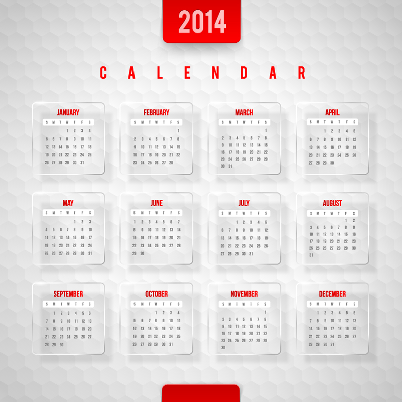 Calendar 2014 Hexagons Background Vector