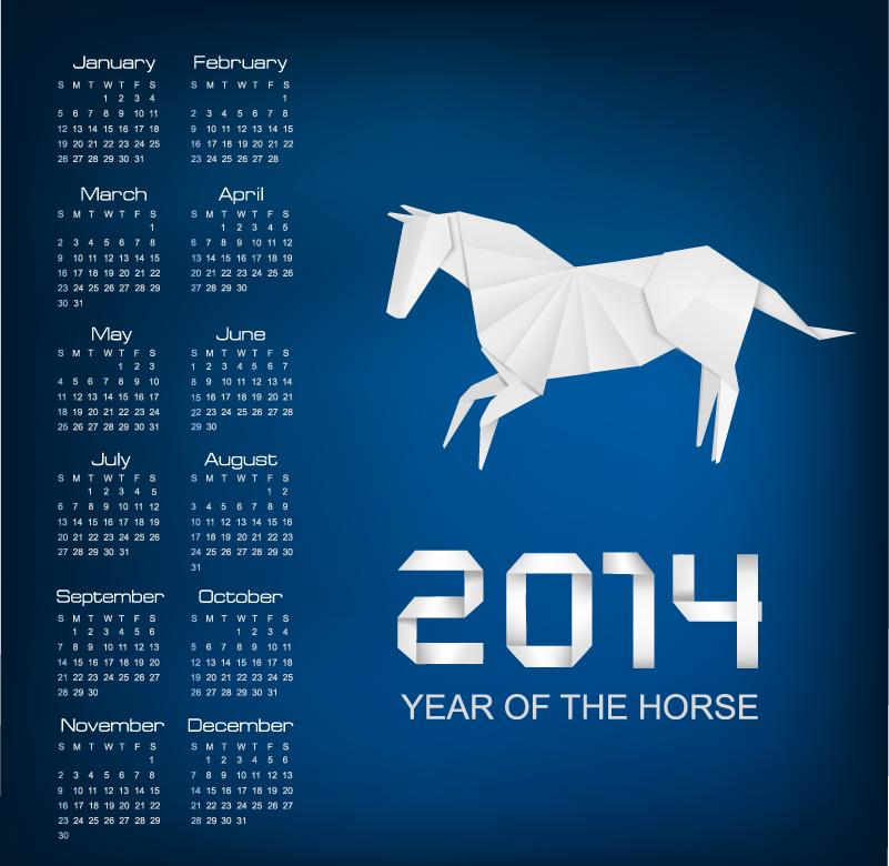 Calendar 2014 Origami Horse Vector