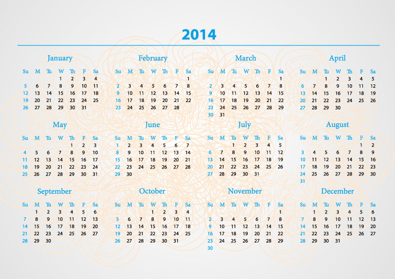 Calendar 2014 Pattern Background Vector