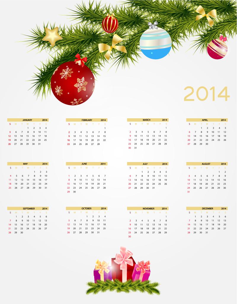 Calendar 2014 Pine Xmas Ball Vector