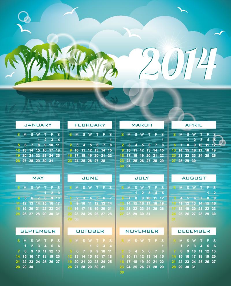 Calendar 2014 Sea Island Vector