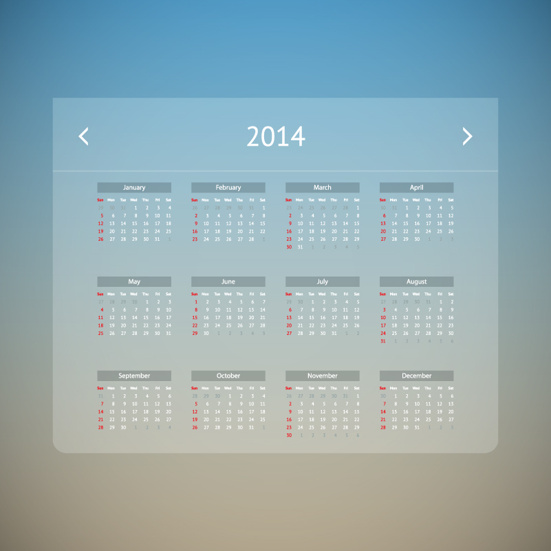 Calendar 2014 Transparent Vector