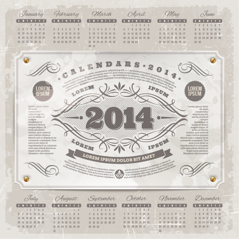 Calendar 2014 Vintage Posters Vector