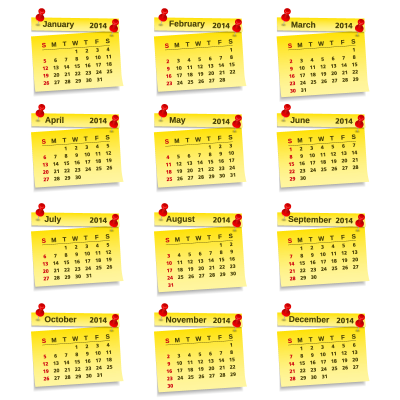 Calendar 2014 Yellow Notes Vector