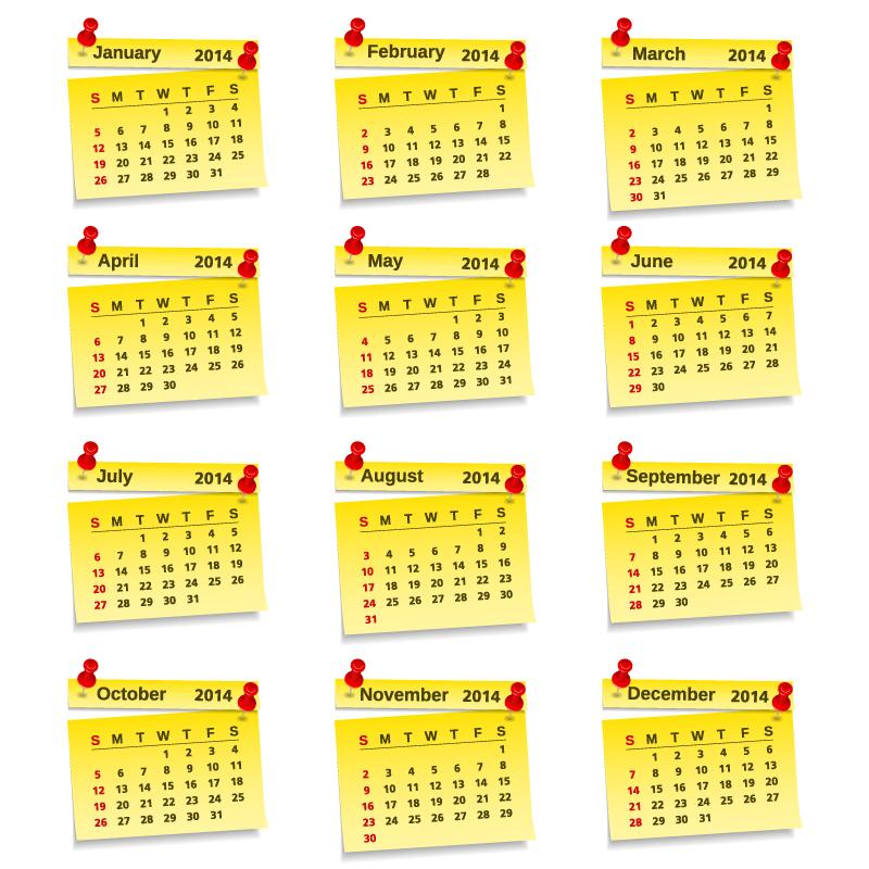 Calendar 2014 Yellow Notes Vector