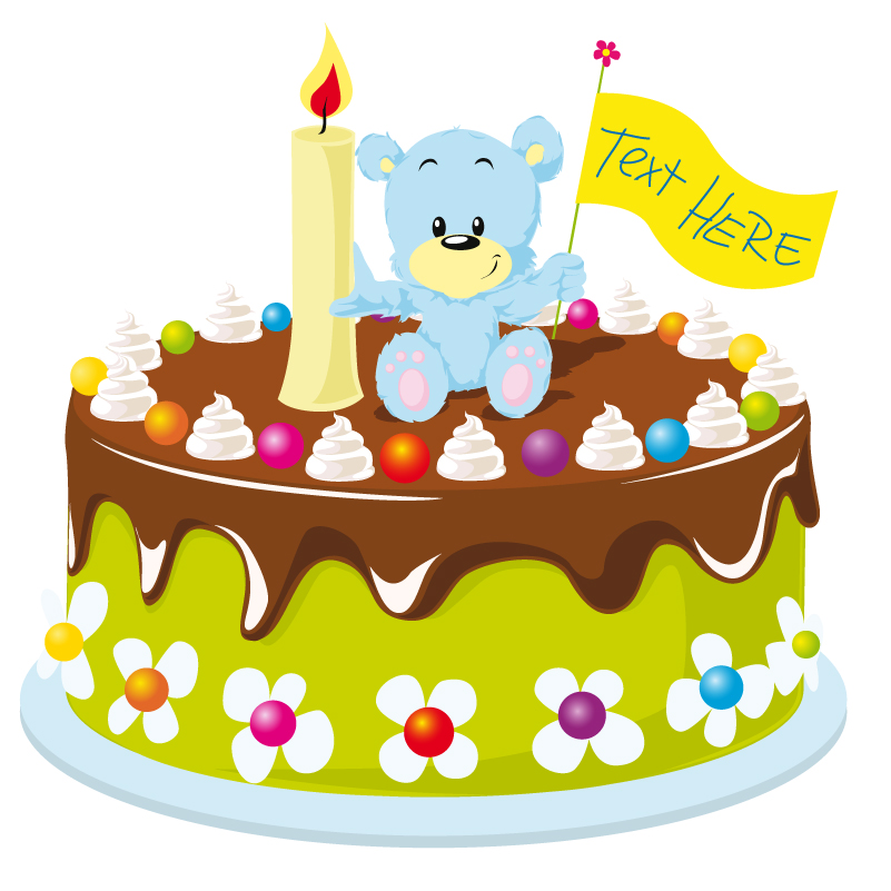 Cartoon Bear Birthday Cake Vector