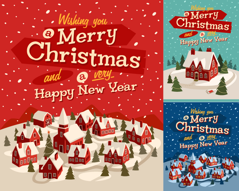 Cartoon Childlike Christmas illustration Vector
