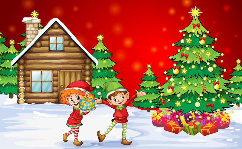 Cartoon Christmas Kids illustration Vector