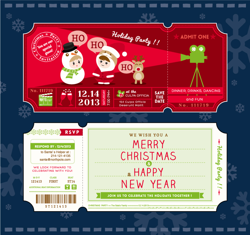 Cartoon Christmas Party Tickets Vector