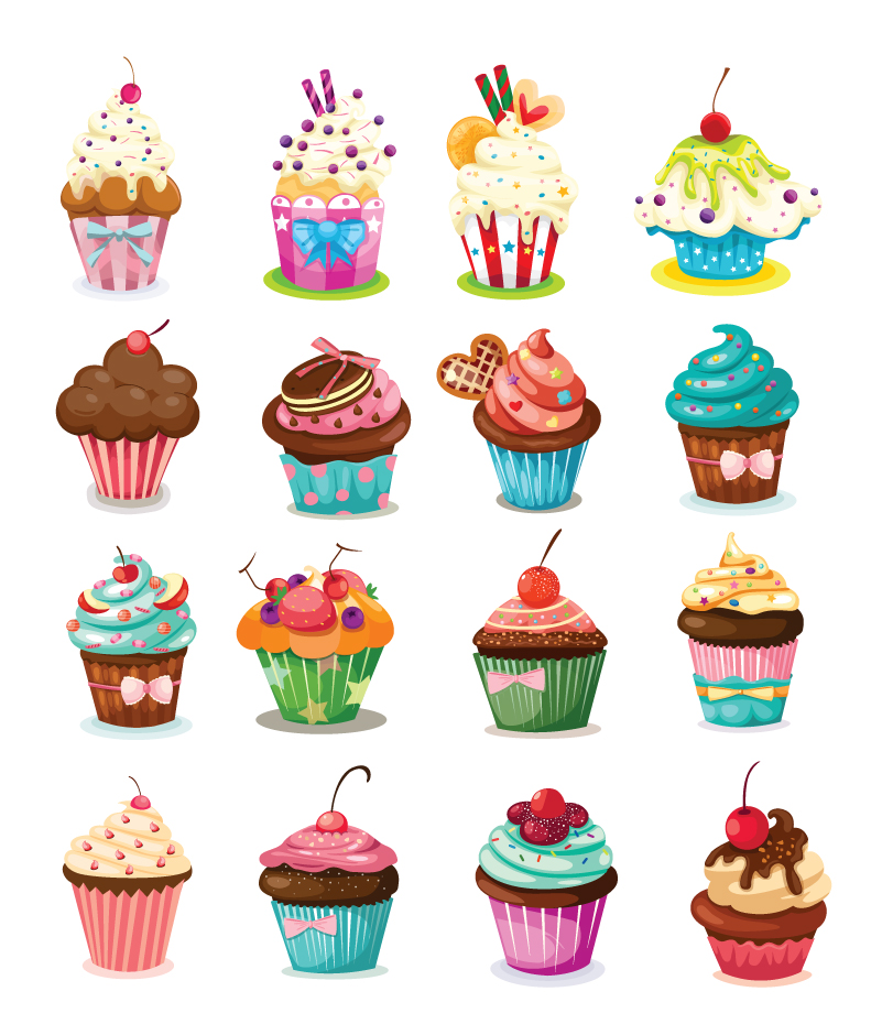 Cartoon Cream Cake Cup Vector