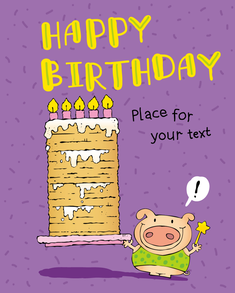 Cartoon Wishing Pig Birthday illustrator Vector