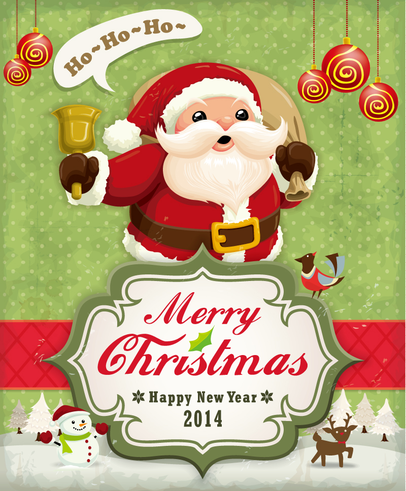 Childlike Cartoon Santa Claus Vector
