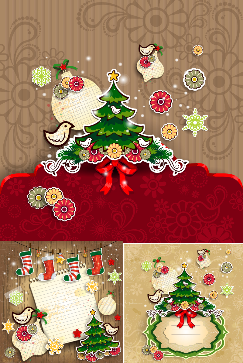 Childlike Christmas Background Vector