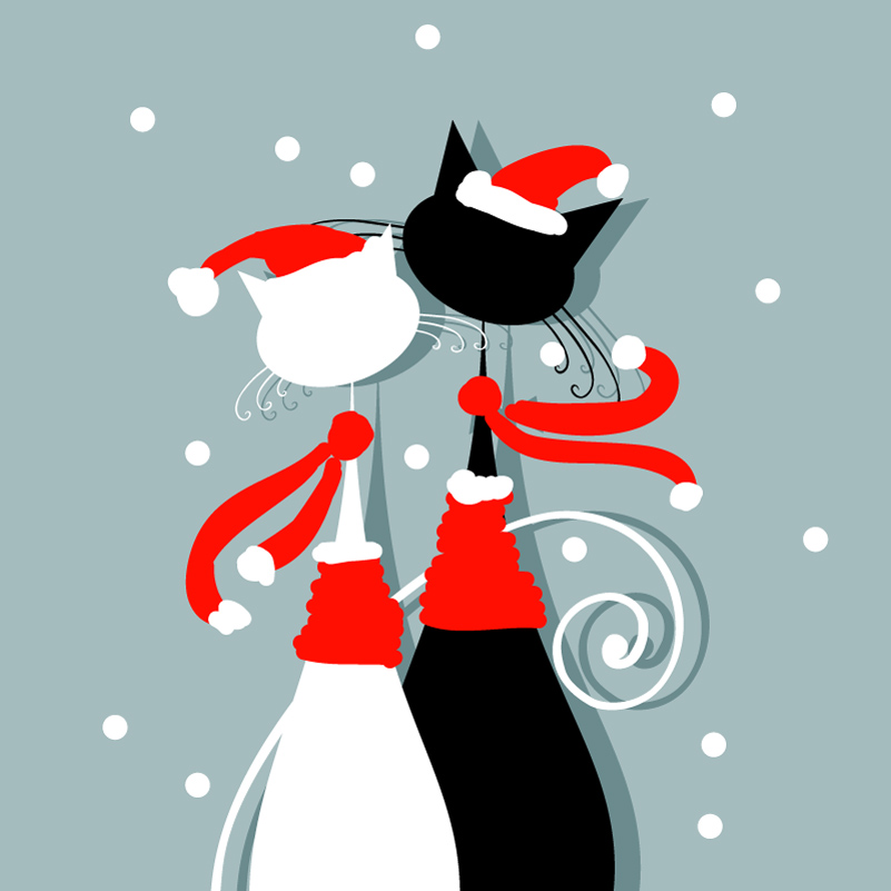 Christmas Cat Lovers illustration Vector
