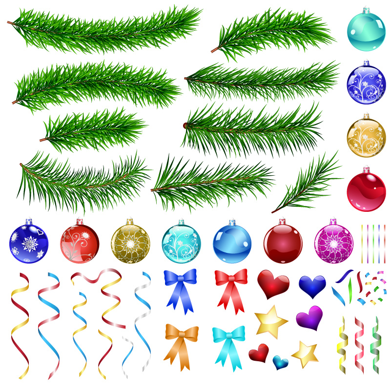 Christmas Elements Pine Ball Ribbon Vector