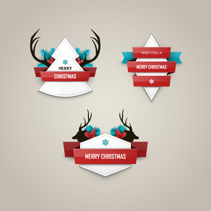 Christmas Elk Shape Stickers Vector