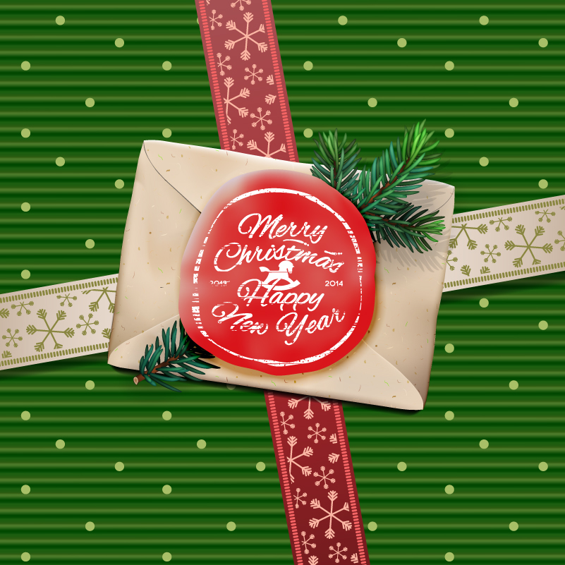 Christmas Envelope Background Design Vector