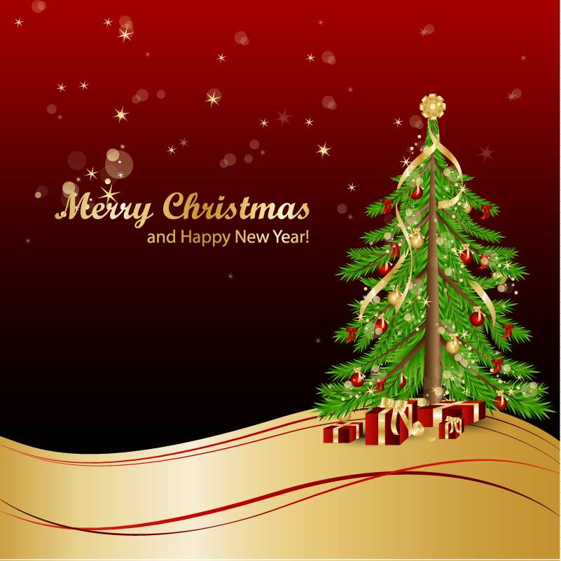 Christmas Gift and Christmas Tree Background Vector