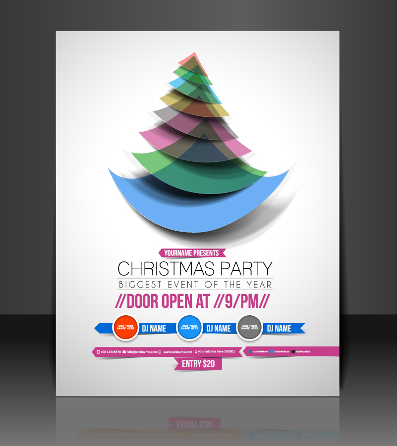 Christmas Party Curved Triangle Tree Vector