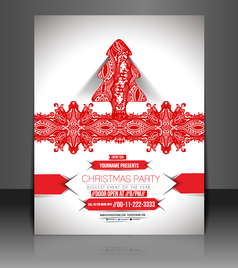 Christmas Party Lace Christmas Tree Vector