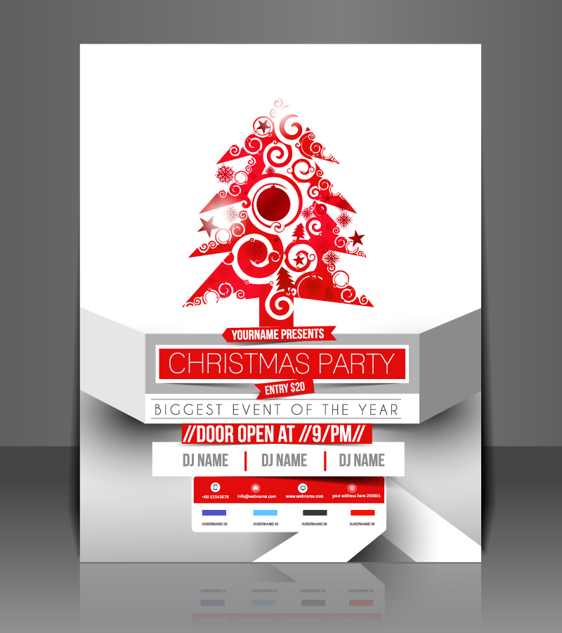 Christmas Party Red Xmas Tree Vector