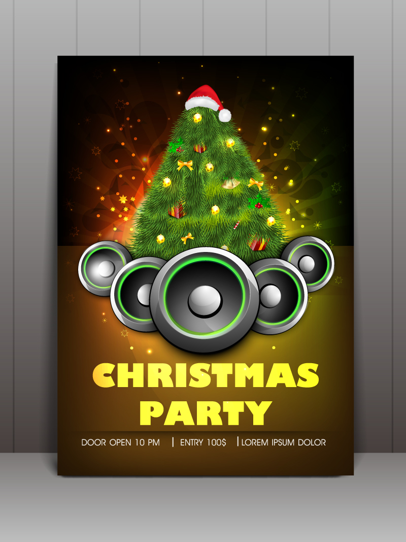 Christmas Party Speaker Tree Vector Free Vector Graphic