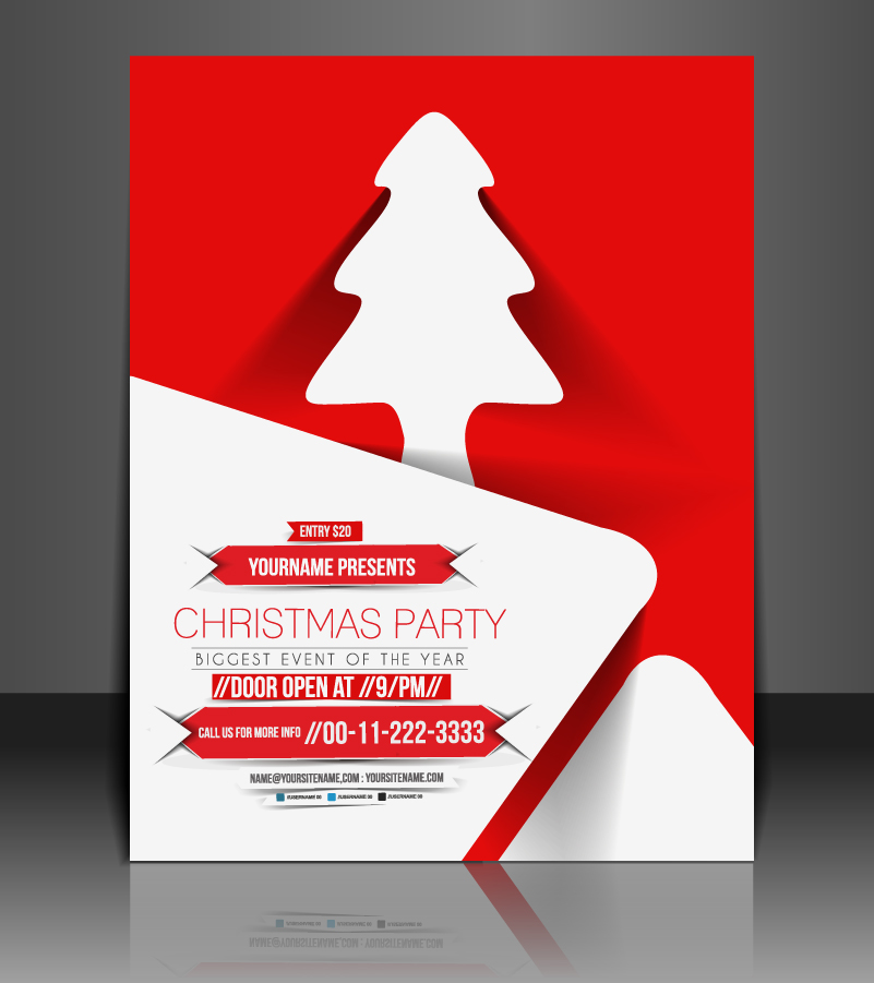 Christmas Party Tree Red Background Vector