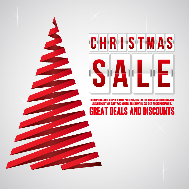 Christmas Sale Red Ribbon Tree Vector