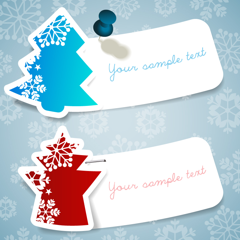 Christmas Tree Paper-cut Label Design Vector