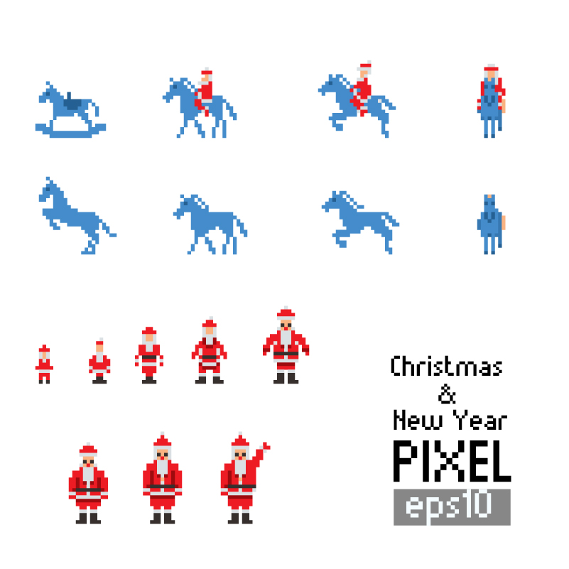 Christmas and New Year Pixel Vector